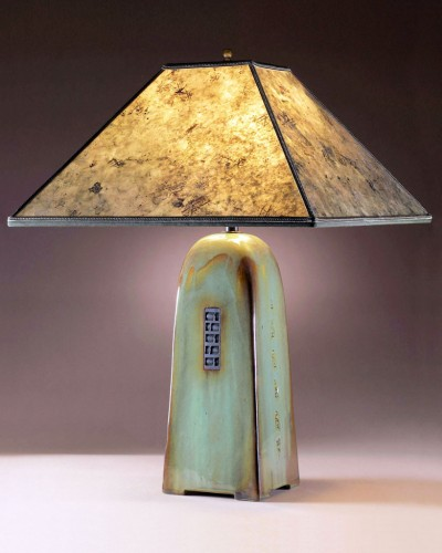Celadon glaze | Green mica shade | 26 in. height