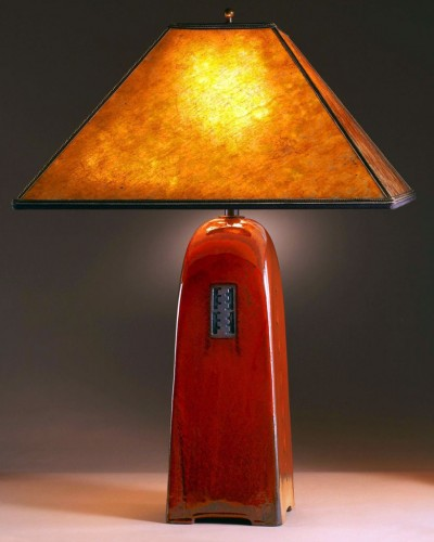 Russet glaze | Amber mica shade | 26 in. height