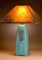 Viridian glaze | Amber mica shade | 26 in. height