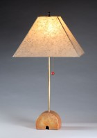Concrete arch base | Brass tube | Rectangular paper shade | 29 in. height | $600.