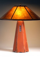 Russet glaze   Amber mica shade   22 in. height
