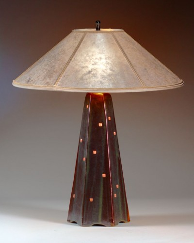 Onyz glaze/copper squares   Silver mica shade   22 in. height