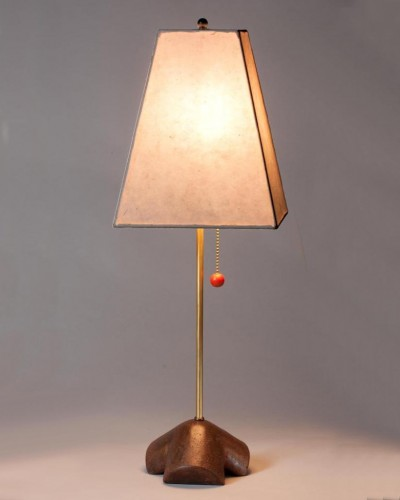 Concrete tripod base | Brass tube | Square paper shade | $450.